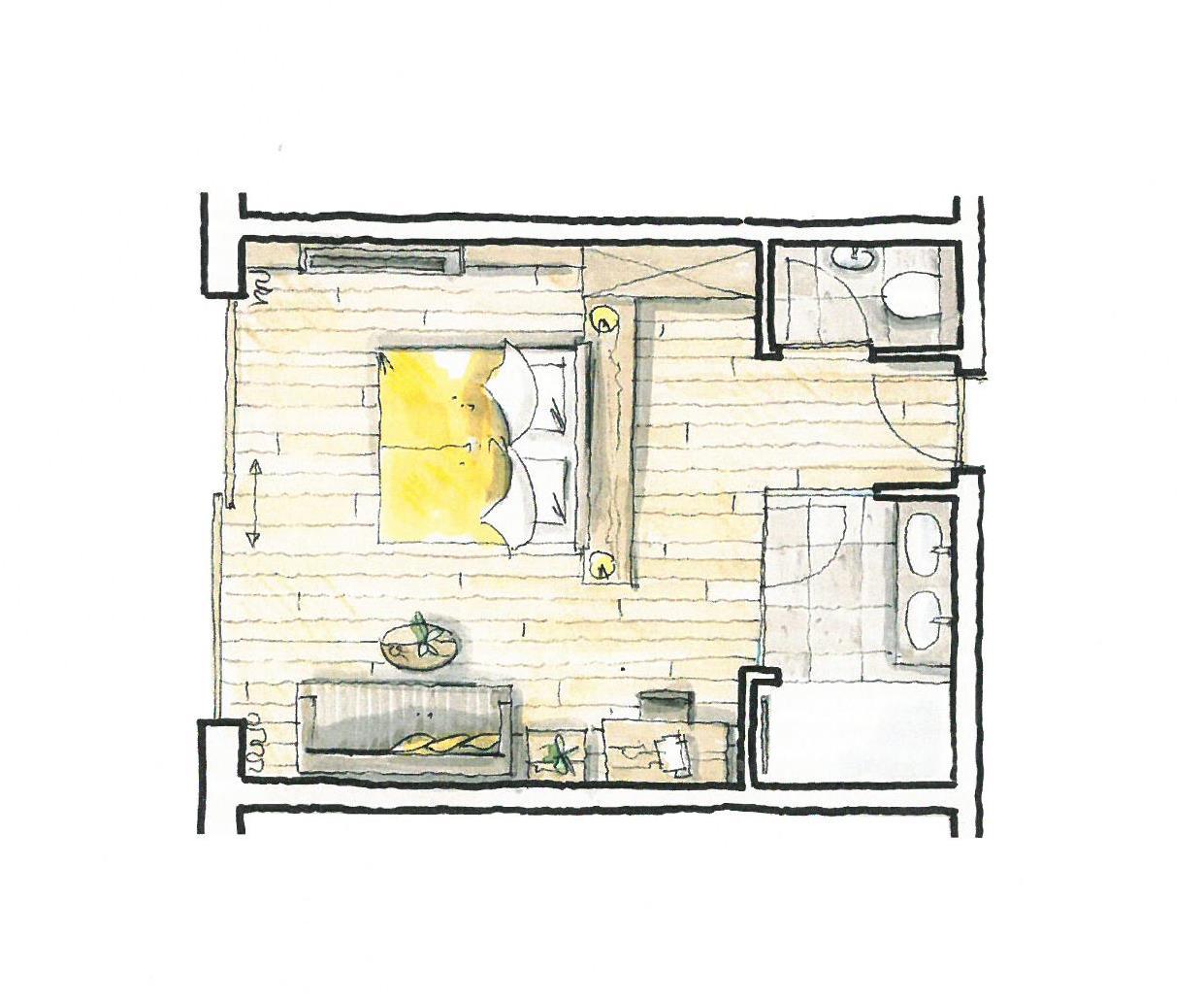 Wohnkomfortzimmer Bergzauber Grundriss im Wellnesshotel Alpbacherhof in Tirol
