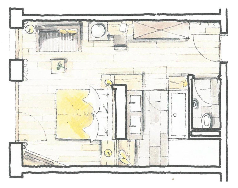 Wohnkomfortzimmer Juwel Grundriss im Wellnesshotel Tirol