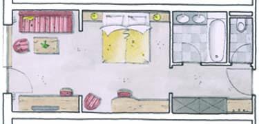 Wohnkomfortzimmer Klassik Grundriss im Wellnesshotel Alpbacherhof in Tirol