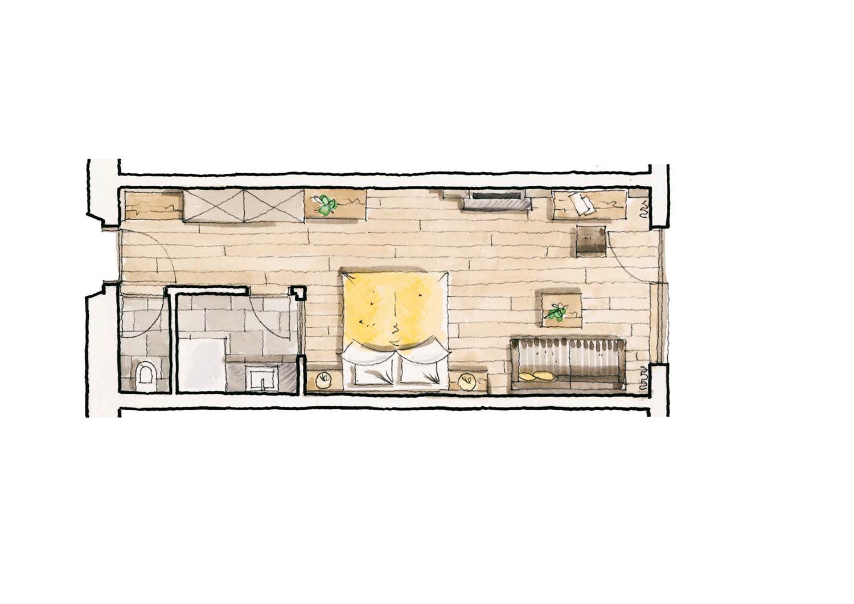 Wohnkomfortzimmer Romantik Grundriss im Wellnesshotel Alpbacherhof in Tirol