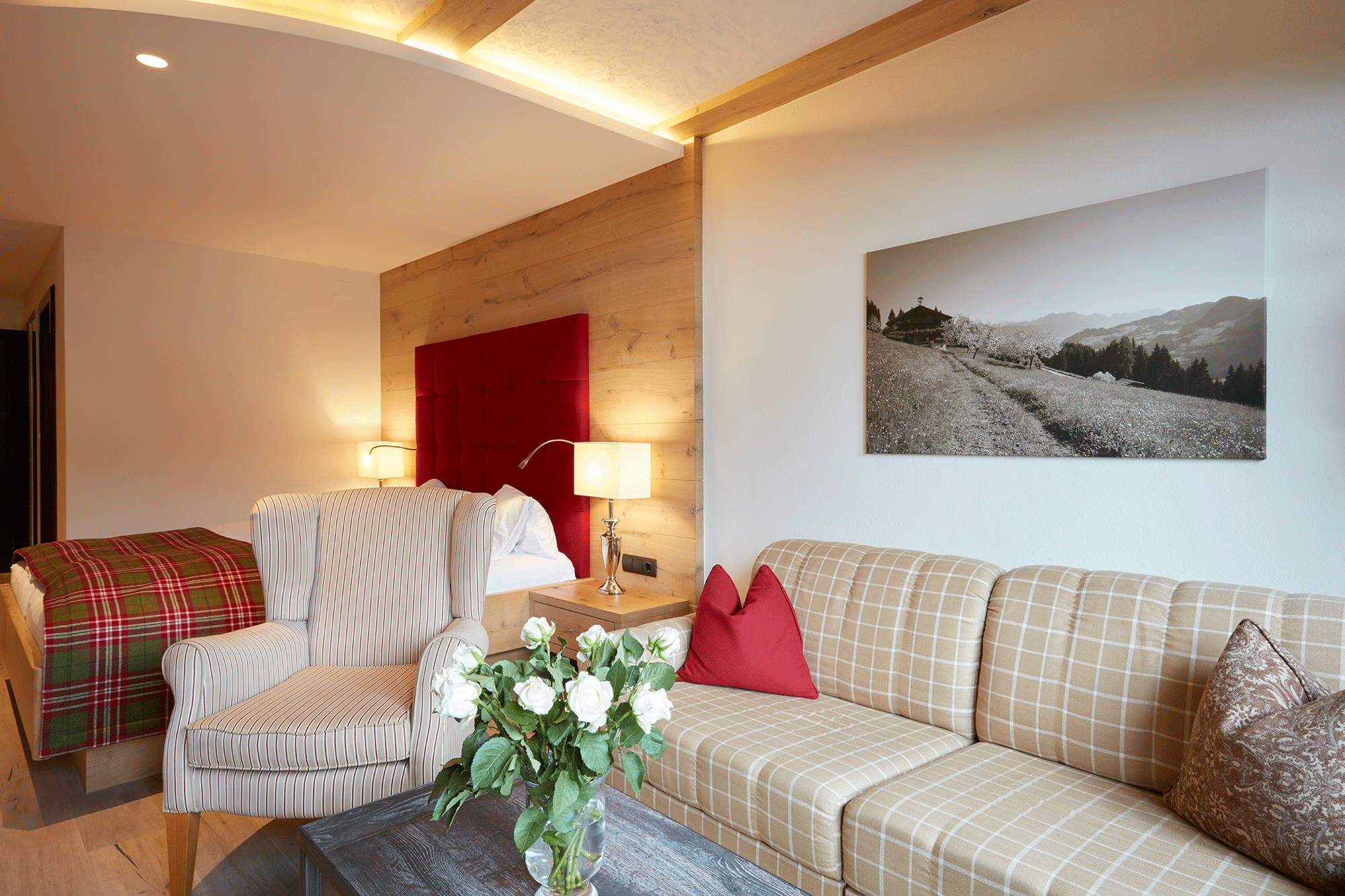 Wohnkomfortzimmer Romantik Sitzecke Hotel Alpbachtal Tirol