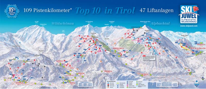 Pistenplan Ski Juwel Winterurlaub Skiurlaub Alpbachtal