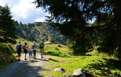 Wanderer Luegergraben Steinbergalm beim Wandern Alpbachtal