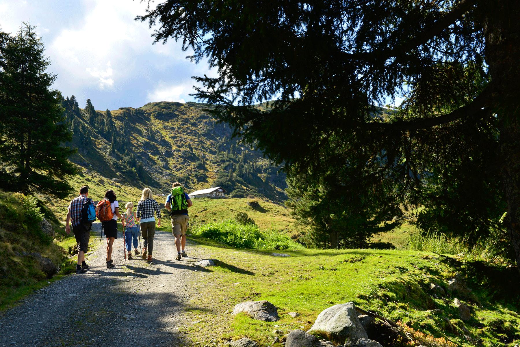 Familie beim Wandern im Alpbachtal
