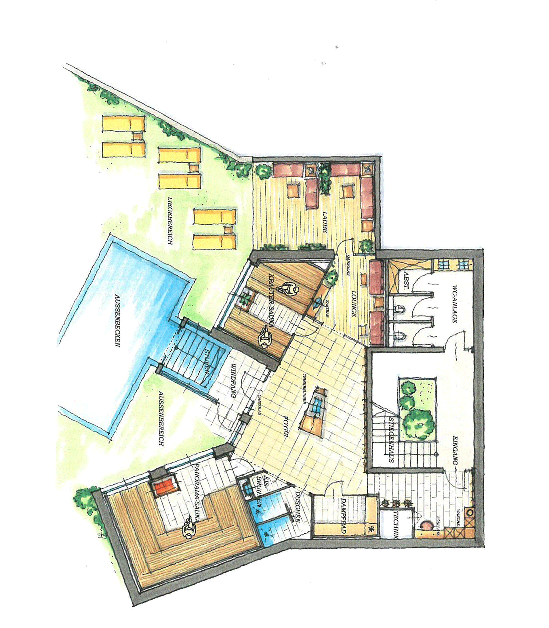 Zeichnung Grundriss Alpbacherhof Wellnesshotel Alpbachtal